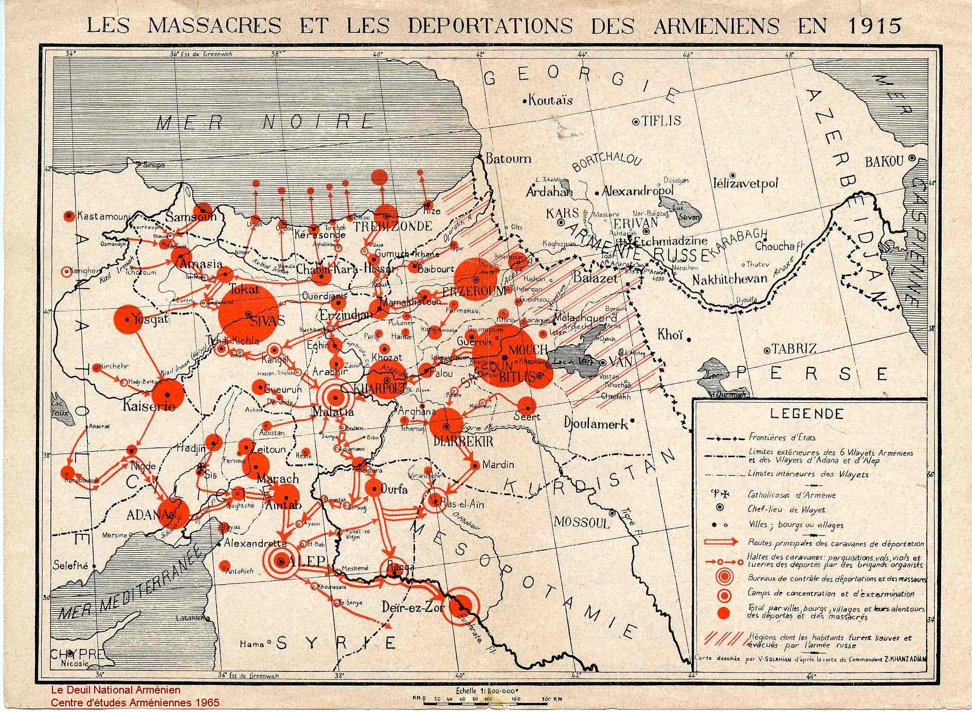 Cartographie des massacres et déportation des arméniens en 1915